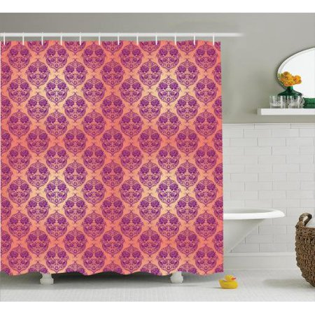 Damask Shower Curtain Set Flower Featured Classic Themed Pattern Original Royal French Style Home