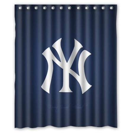 DEYOU Yankees Shower Curtain Polyester Fabric Bathroom Size 60x72 Inch