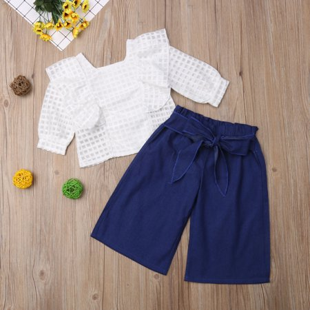 c79ab8c79 Toddler Kids Girls Clothes Outfit Long Sleeves Ruffle Lace Blouse T-Shirt  Top + Bow Denim Long Flared Pants - Walmart.com