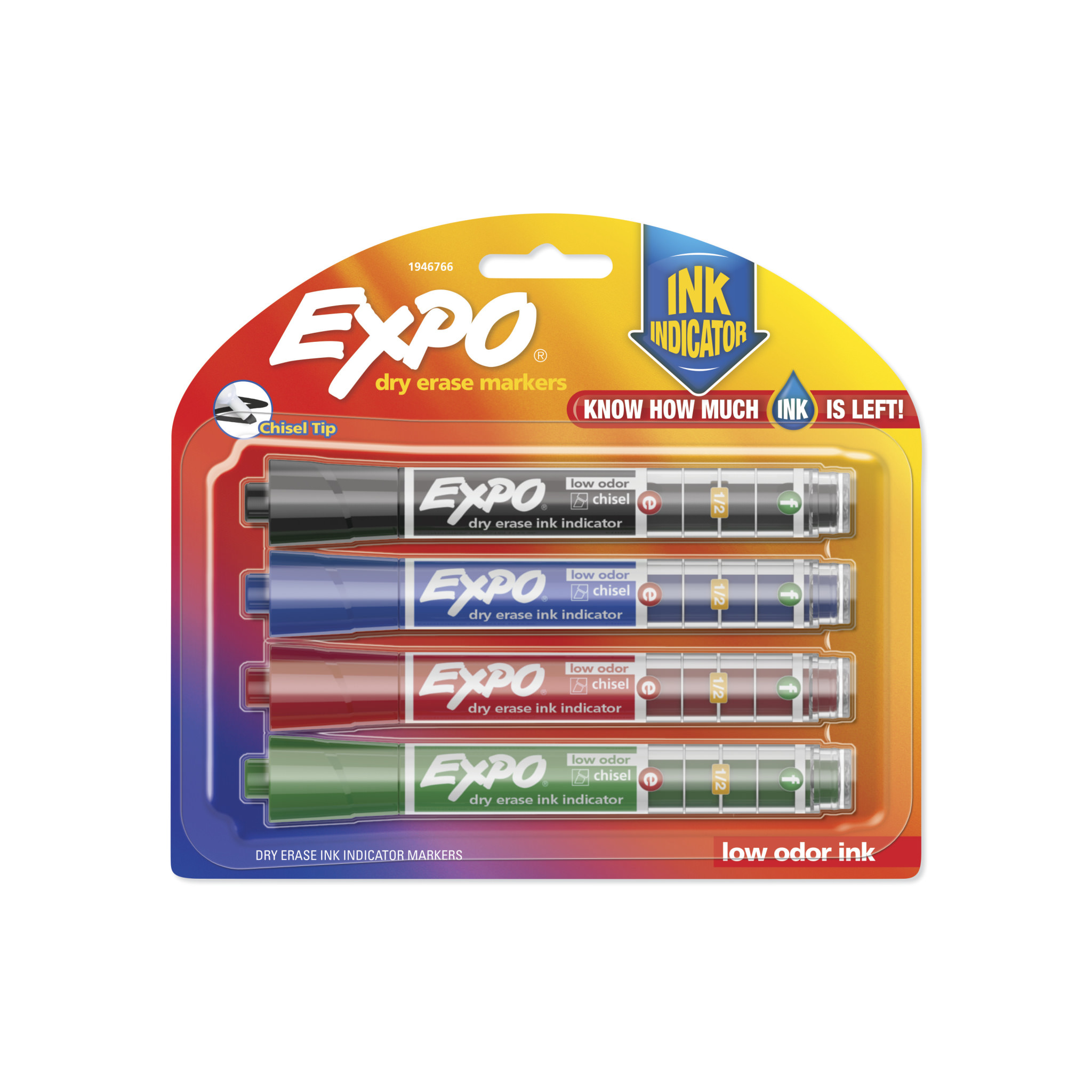 EXPO Dry Erase Markers with Ink Indicator, Chisel Tip, Assorted Colors, 4 Pack