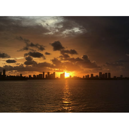LAMINATED POSTER Bay Florida Downtown Sunset Brickell City Miami Poster Print 24 x (Best Sunset In Miami)