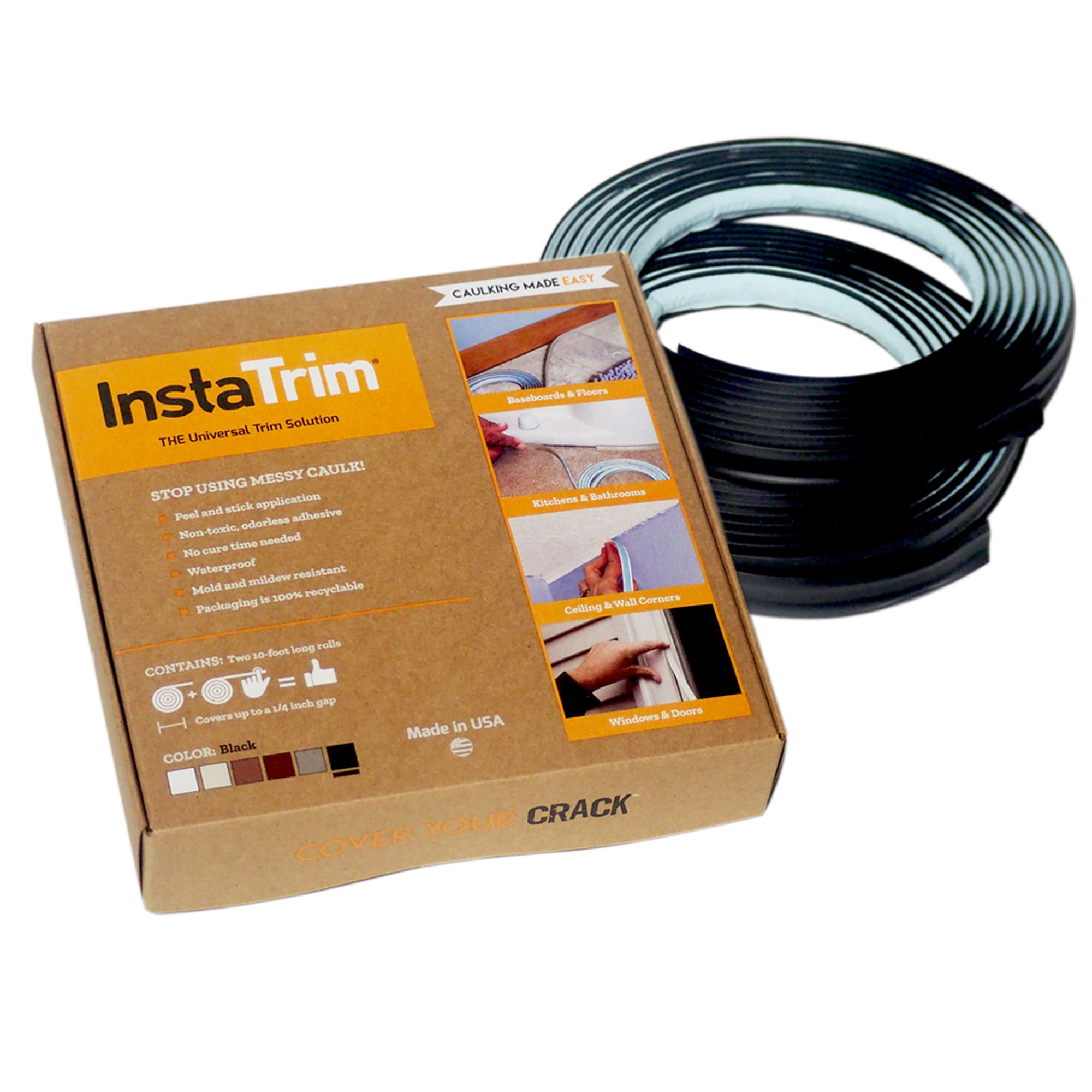 InstaTrim flexible molding trim strips with 2-10ft rolls; white