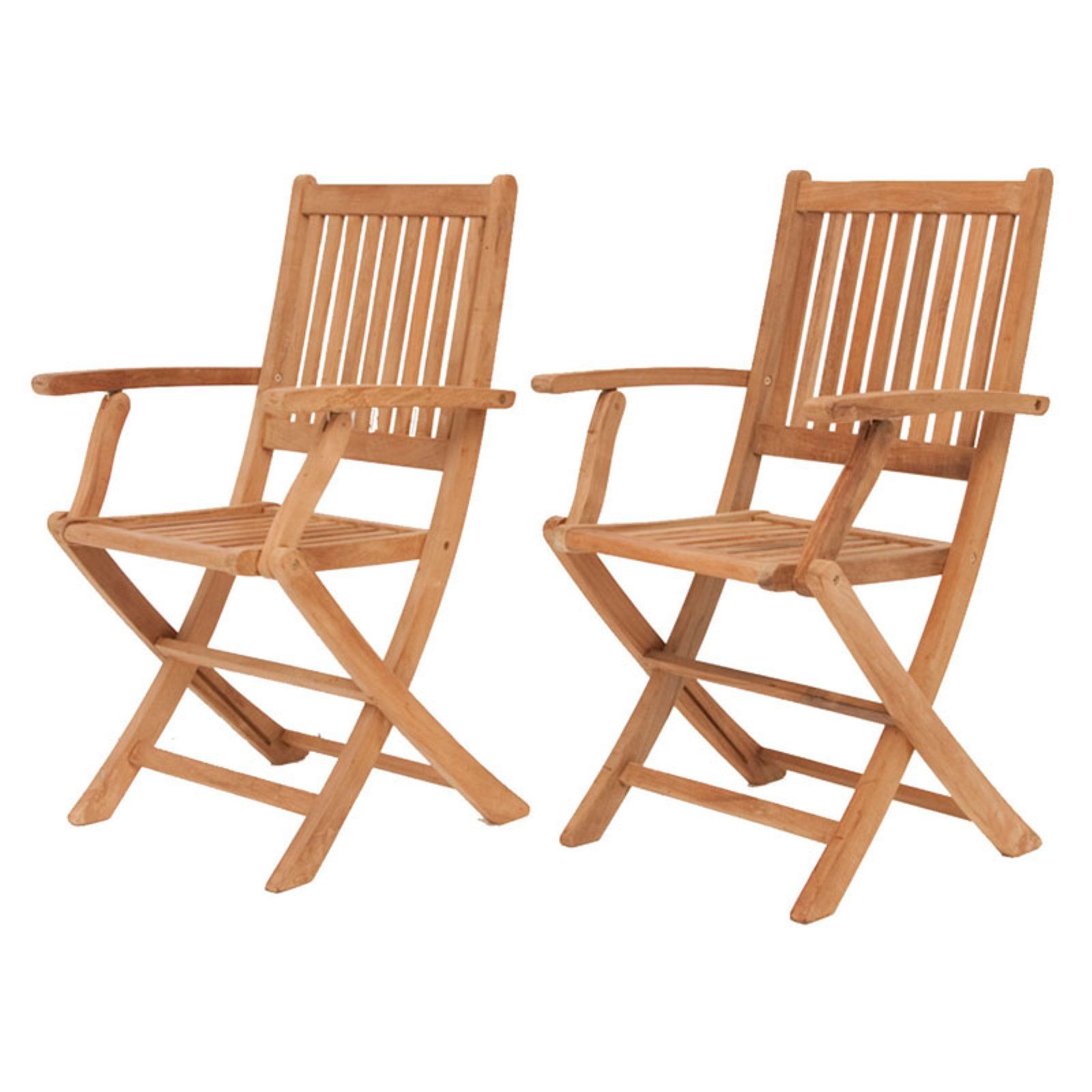 Amazonia Sandford Teak Wood Outdoor Folding Armchairs, Set of 2, Light Brown