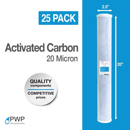 20 Pack 2.5 x 20 In Carbon Block  Water Filter Whole House RO CTO 20 Micron