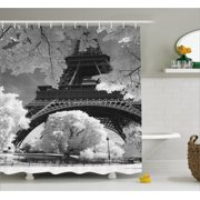 paris bathroom set. Black and White Shower Curtain  Eiffel Tower with Blossoming Trees Historical Paris Famous Landmark Bathroom Products