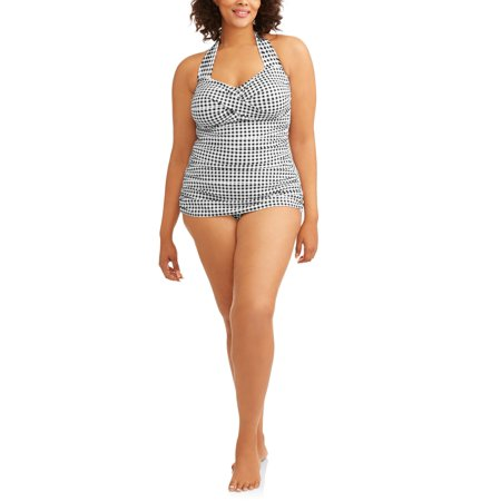 2ed92fd52c752 Simply Slim Women''s Black Gingham Glam Sheath One-Piece Swimsuit As ...