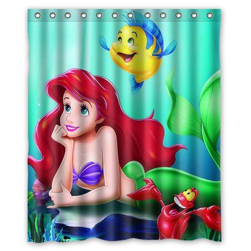 DEYOU The Little Mermaid Shower Curtain Polyester Fabric Bathroom Shower Curtain Size 60x72 inch