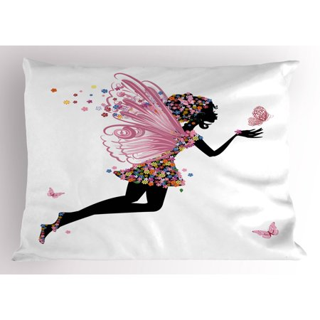 Fairy Pillow Sham Floral Arrangement Dress Pattern Winged Girl with Butterflies Cartoon Style Angel, Decorative Standard Queen Size Printed Pillowcase, 30 X 20 Inches, Multicolor, by Ambesonne - Butterfly With Angel Wings