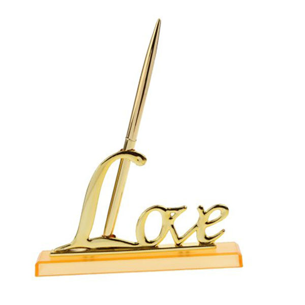 Wedding Signing Pen with Gold Plated Metal Love Holder Party Pen Set