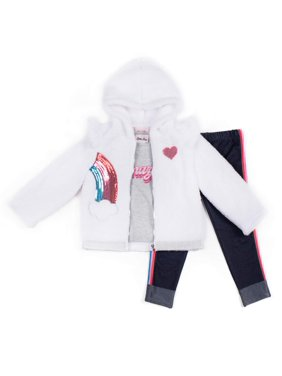 Little Lass Sherpa Rainbow Jacket, Long Sleeve Top & Denim Leggings, 3pc Outfit Set (Baby Girls & Toddler Girls)