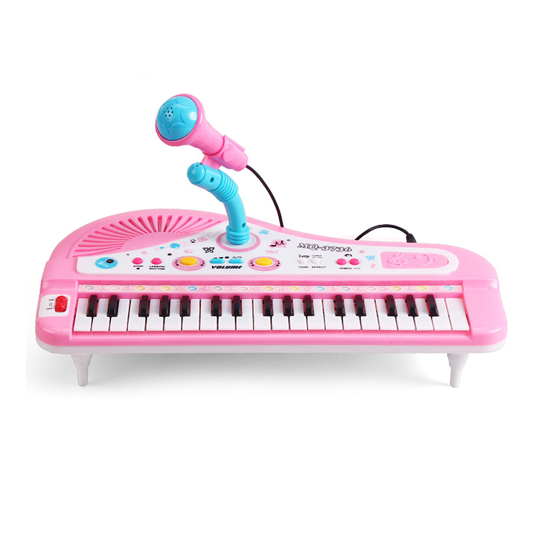 Electronic Organ Keyboard Piano with Microphone 37 Keys Multi-function Kids Children Educational Toys - Pink