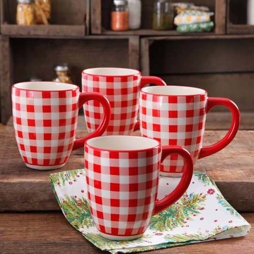 The Pioneer Woman Charming Check 26 Oz Jumbo Mug, Set Of 4
