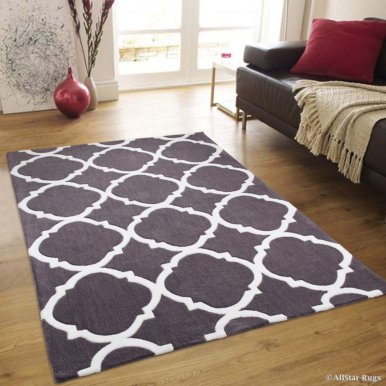 """AllStar Grey Hand Made Modern. Floral. design Area Rug with Dimensional hand-carving highlights (4' 11"""" x 6' 11"""")"""