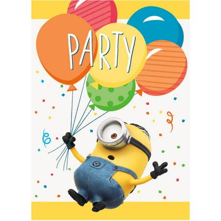 Despicable Me Minions Invitations, 8ct - Minion Party Accessories