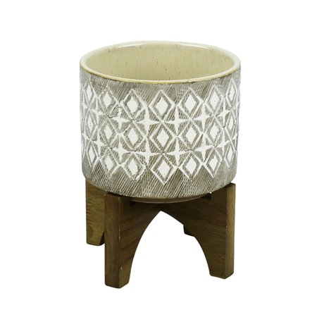 Sagebrook Home Geometric Patterned Planter on Wood (Wood Planter Stands)