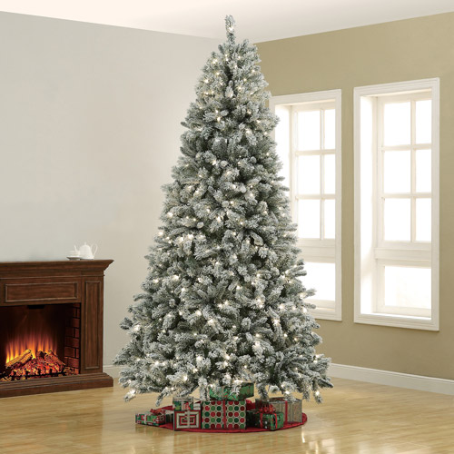 Holiday Time Pre-Lit 9' Winter Frost Christmas Tree, Clear Lights
