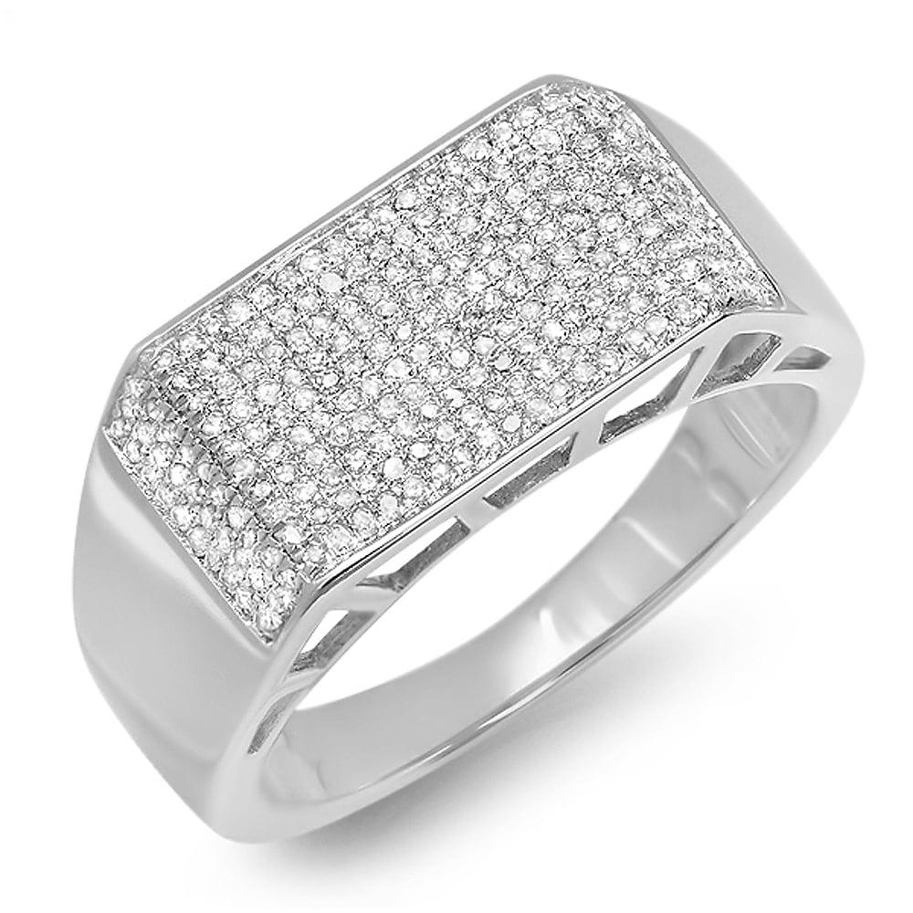 0.83 Carat (ctw) Platinum Plated Sterling Silver Round Cut Diamond Men's Anniversary Wedding Ring 3/4 CT