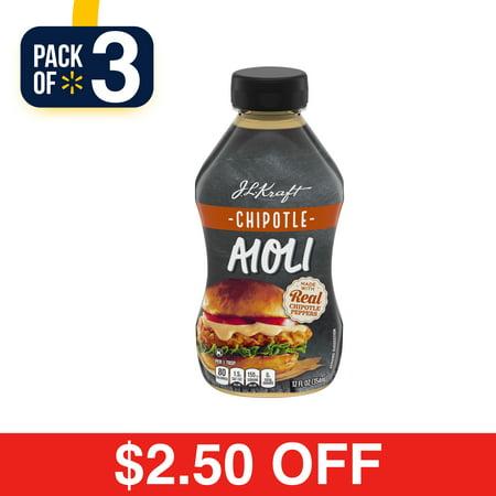 (3 Pack) Kraft Mayo Chipotle Aioli, 12 Fl Oz Bottle - Halloween Chipotle