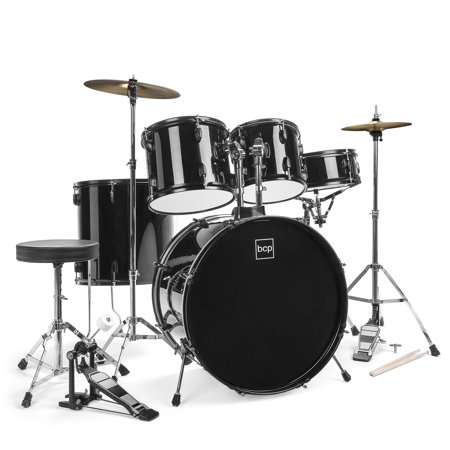 Best Choice Products 5-Piece Full Size Complete Adult Drum Set with Cymbal Stands, Stool, Drum Pedal, Sticks,  Floor Tom