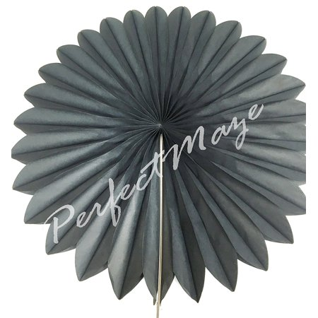 Perfectmaze Paper Fans Wedding Decoration Baby Shower Bridal Party Accessories (Black 14 inch) - Baby Shower Accesories