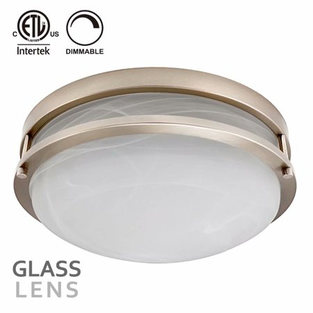 TORCHSTAR 12.5 Inch Dimmable LED Flush Mount Ceiling Light, Alabaster Glass Cover, 1200lm, 3000K Warm White, Satin Nickel