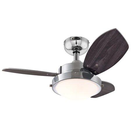 Westinghouse 7876300 30 Chrome 3 Blade Reversible Ceiling Fan With Light