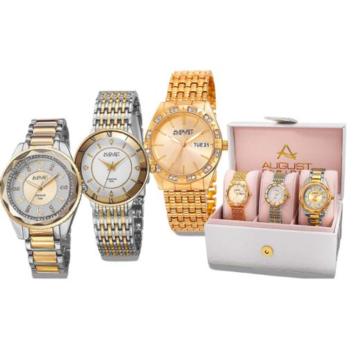 August Steiner Women's Diamond- Accented Alloy Built 3-Piece Bracelet Watch Set