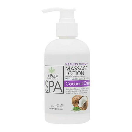 La Palm ORGANIC Healing Therapy Massage Lotion w/ Aloe Vera + Vitamin E - COCONUT CREAM 8oz/240mL (Vera Massage Lotion)