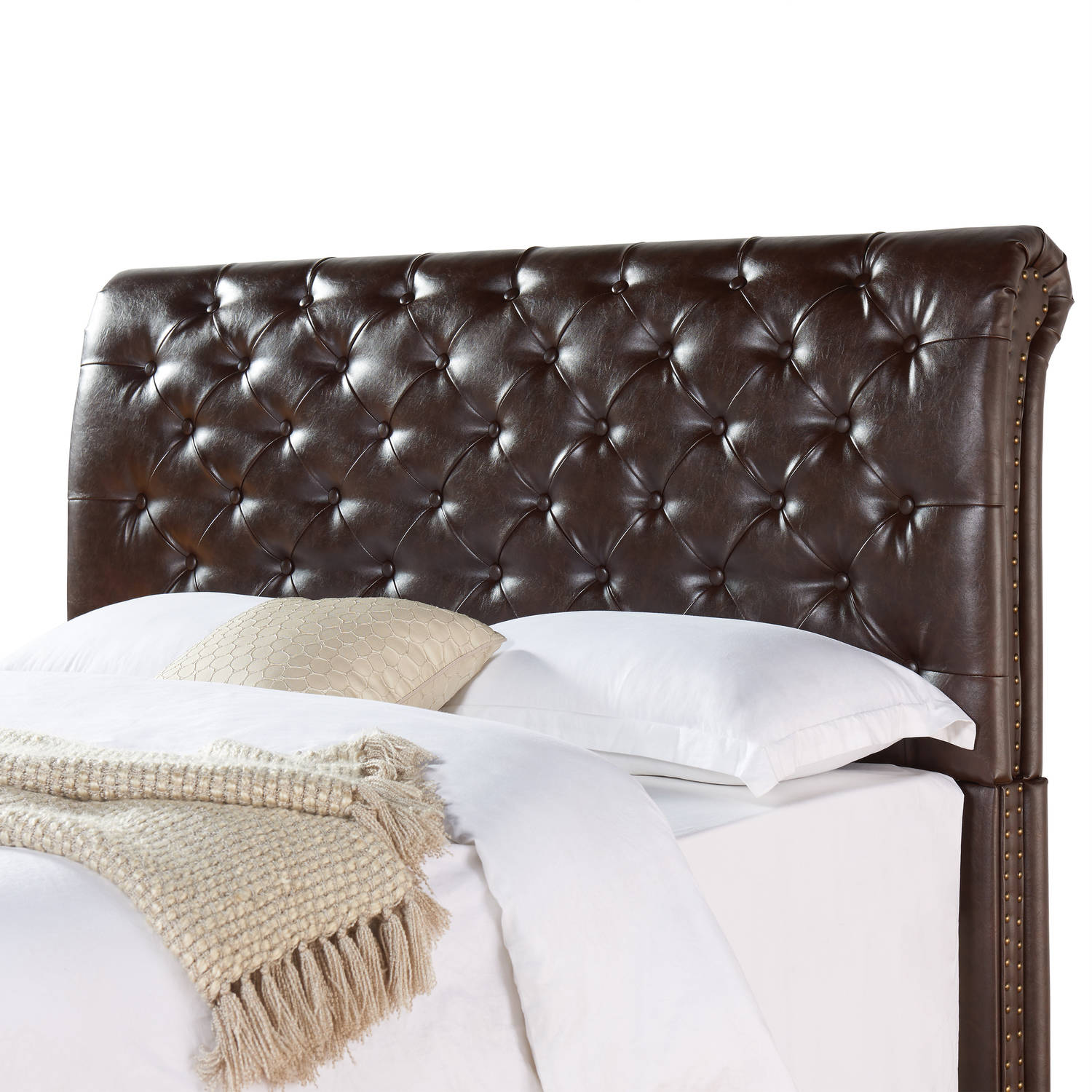 Better Homes & Gardens Rolled Tufted Headboard, Brown Bonded Leather