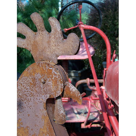 Canvas Print Rooster Iron Old Rust Tractor Rustic Farm Metal Stretched Canvas 10 x 14