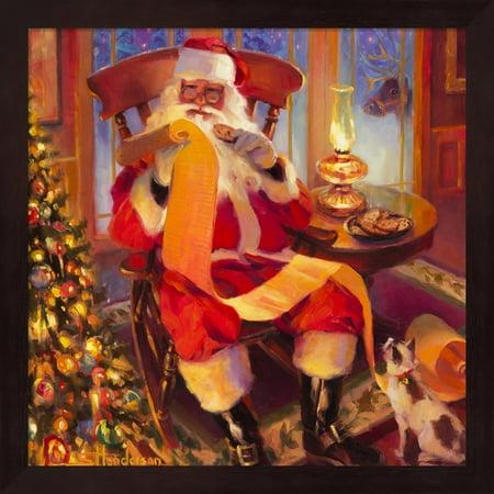 metaverse steve henderson santa christmas list framed art