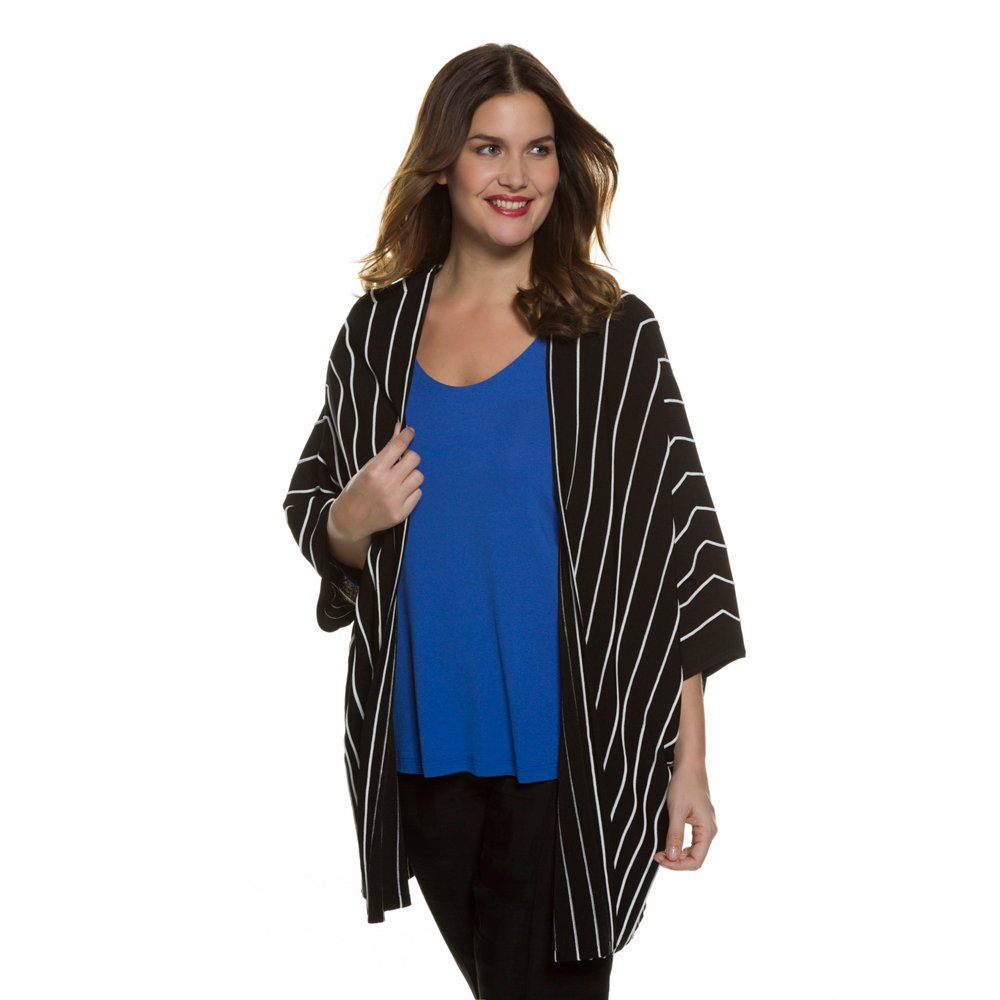 Ulla Popken Women's Plus Size Open Front Striped Poncho S...