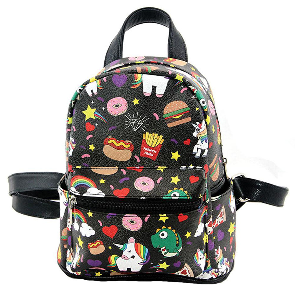 Ashley M Junk Food & Unicorns Donuts Pizza Rainbows Mini Fashion Backpack Purse