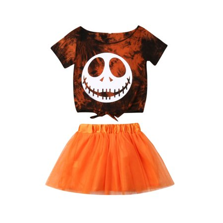 Toddler Baby Girl Halloween Clothes Skull Tops Tutu Skirt Dress 2Pcs Outfits Set (Skull Dress For Women)