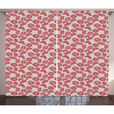 Floral Curtains 2 Panels Set, Graphic of Bent Poppy Petals on Monochrome Polka Dot Style Background, Window Drapes for Living Room Bedroom, 108W X 108L Inches, Dark Coral Grey White, by Ambesonne