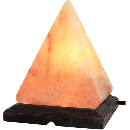 GreenCo Pyramid Shaped Hand Carved Natural Himalayan Salt Lamp on Wooden Base with Electric Wire, Dimmer Control & Bulb