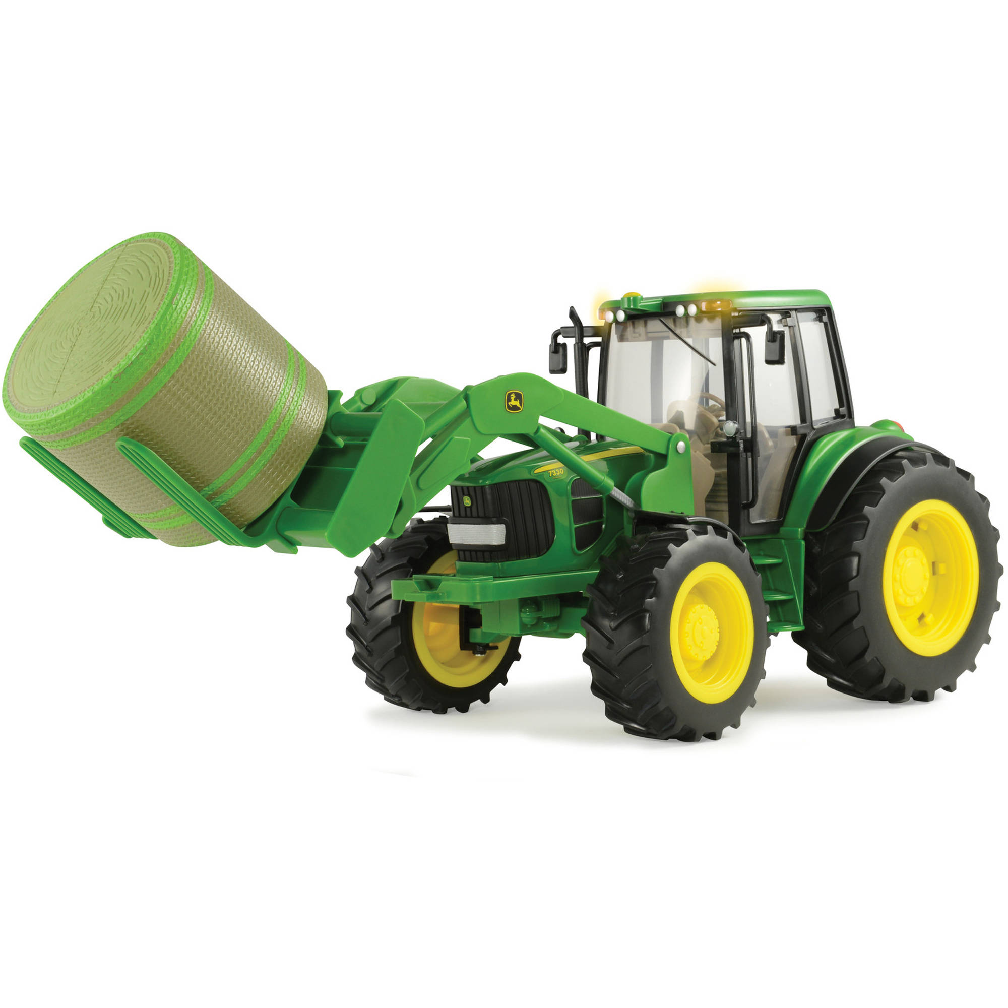 TOMY 1:16 Scale Big Farm John Deere 7330 with Front Bale Mover and Bale by Overstock
