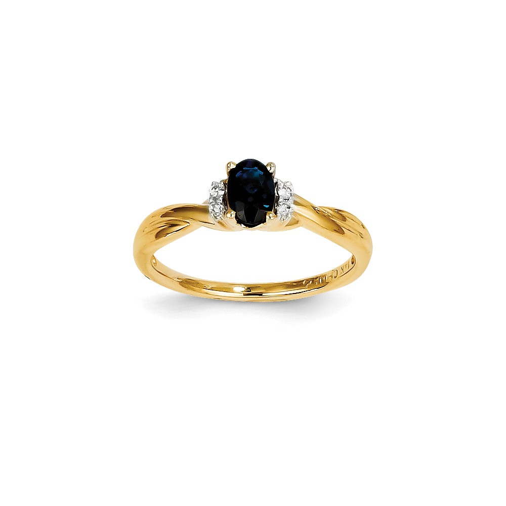 14k Yellow Gold Diamond & Oval Sapphire Gemstone Ring. Carat Wt- 0.7ct