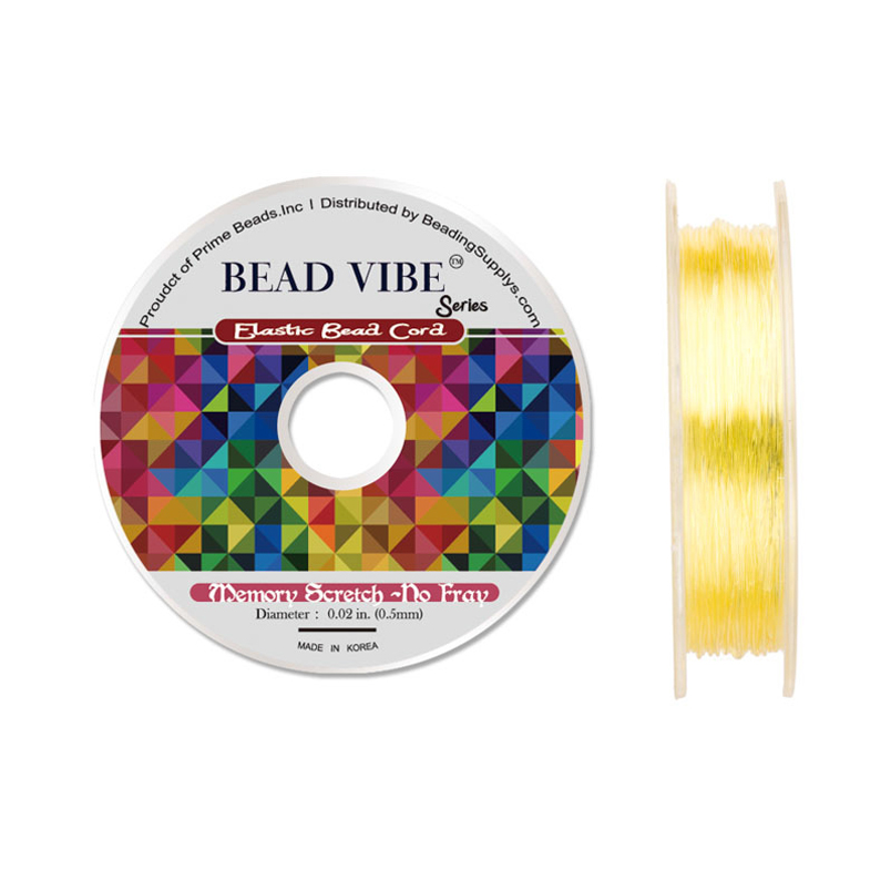 Elastic Bead Cord, Beadvibe Series Memory Stretch Non Fray, Yellow 0.5mm Diameter 82ft