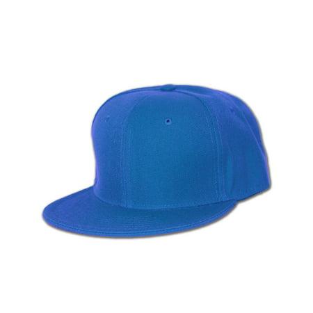 Plain Fitted Flat Bill Hat- Royal Blue