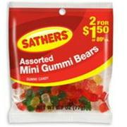 Sathers Mini Gummi Bears 12 pack (2.7oz per pack) (Pack of 6)