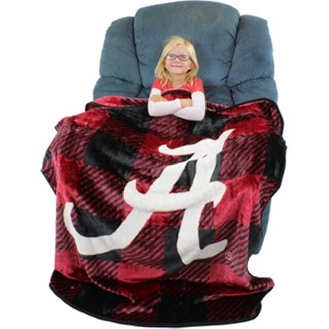 Collegecovers ALATHSMPD Alabama Crimson Tide Raschel Throw Blanket, Plaid Design - 50 x 60