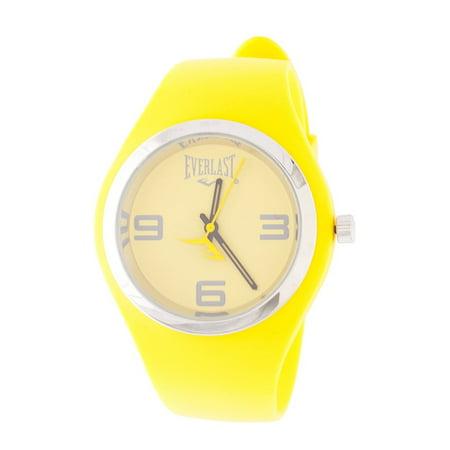 Slim Yellow Round Sport Analog Rubber Watch W/ Silver Ring