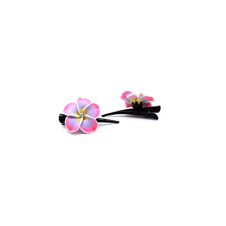 Hawaii Luau Party Dance Performance FIMO pair 2 hair clips in Pink and Purple