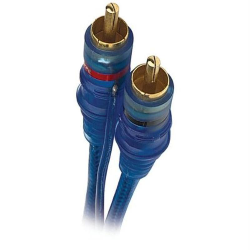 20' Raptor Neon Blue Series RCA Audio Cable