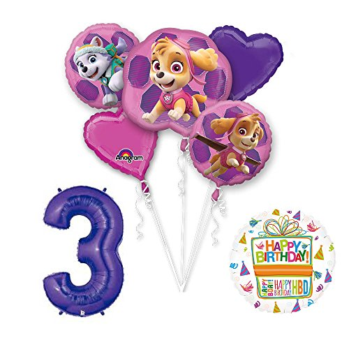 PAW PATROL SKYE & EVEREST 3rd Birthday Party Balloons Supplies Chase Ryder
