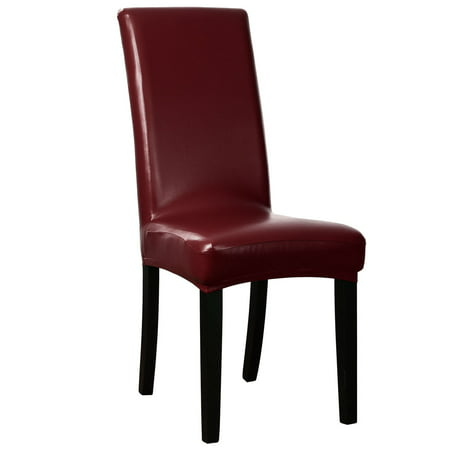 1PC PU Leather Stretch Dining Chair Seat Cover Slipcovers Burgundy ()
