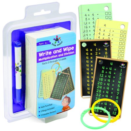 Multiplication Facts Flash Cards - Star Right Multiplication and Division Flash Cards - Write and Wipe Dry Erase Flash Cards Facts 0-12, Hole Punched, 2 Rings & 2 Erasable Markers Included