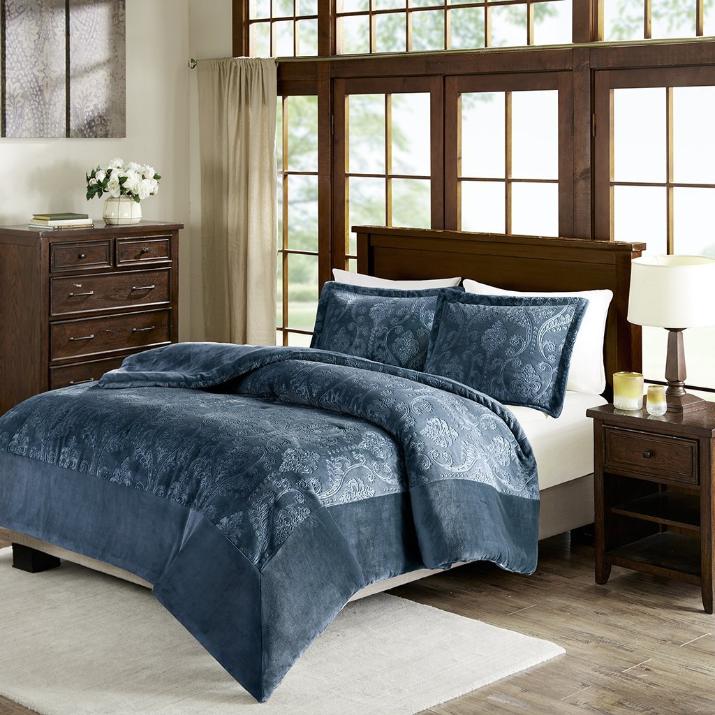 Kramer Textured Plush Comforter Mini Set Blue Full/Queen, Keep yourself cozy and warm with this luxuriously plush comforter set. The plush fabric is.., By Premier Comfort