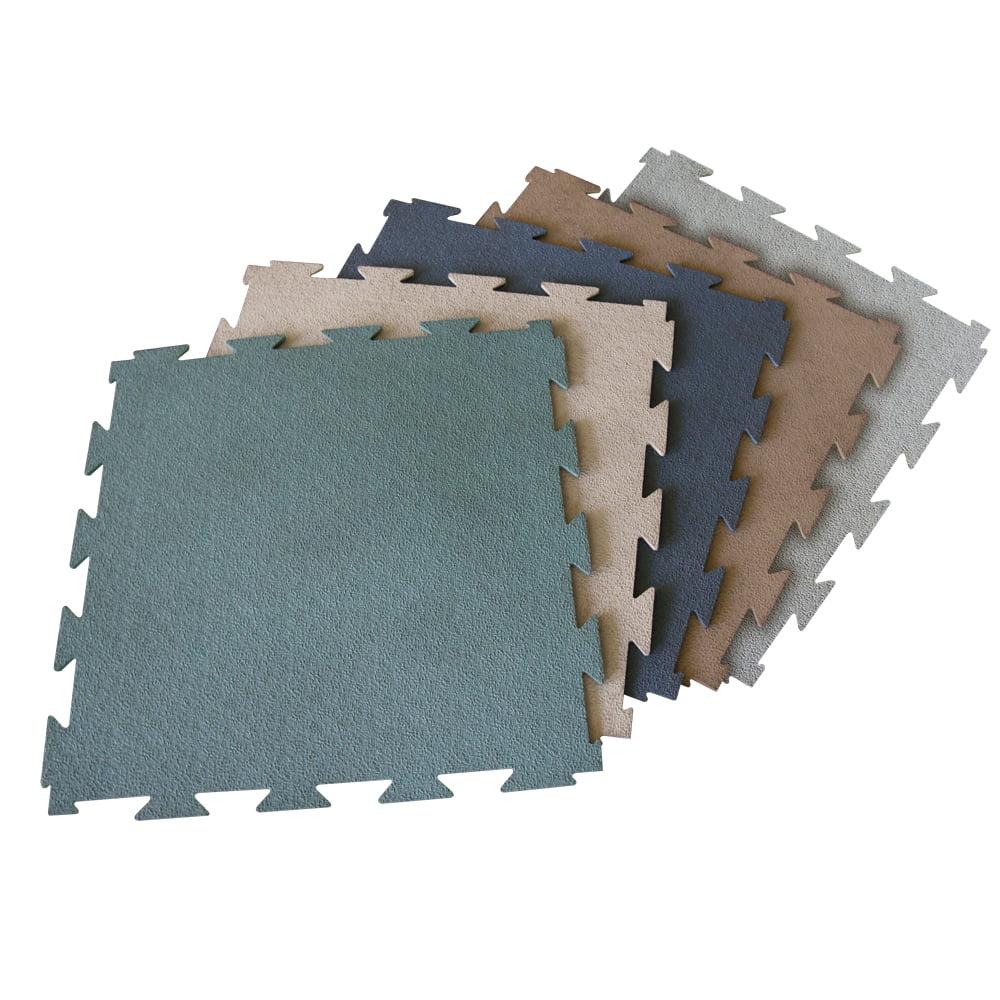 "Rubber-Cal ""Terra-Flex"" Interlocking Flooring - 1/4 in x 24 in x 24 in - 10 Pack - 40 Sqr/Ft - Blue Rubber Tiles"